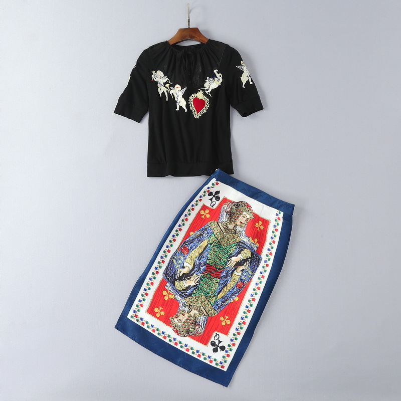 Mifairy 2018 Spring O Collar 1 2 Sleeves Embroidery T Shirt And Poker Print Skirt 2