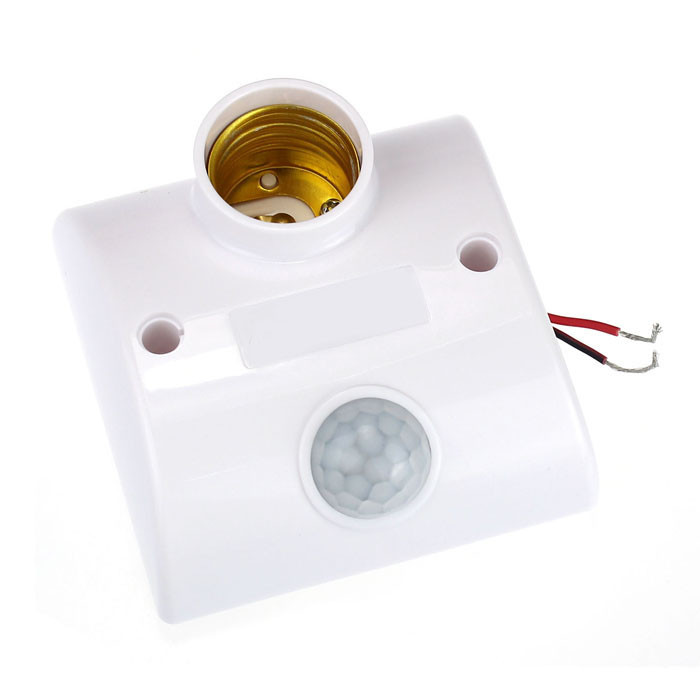 E27 AC 220v 50/60HZ Motion Sensing Switch Infrared Motion Sensor Automatic Light Lamp Holder Switch White #20