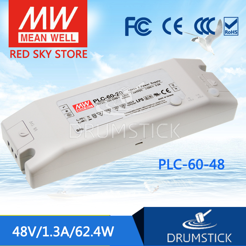 цена на hot-selling MEAN WELL PLC-60-48 48V 1.3A meanwell PLC-60 48V 62.4W Single Output LED Power Supply