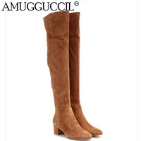 2018 New High Quality Plus Big Size 31 45 Cow Suede Black Brown Gray Zip Over The Knee Thigh High Autumn Winter Women Boot X1637