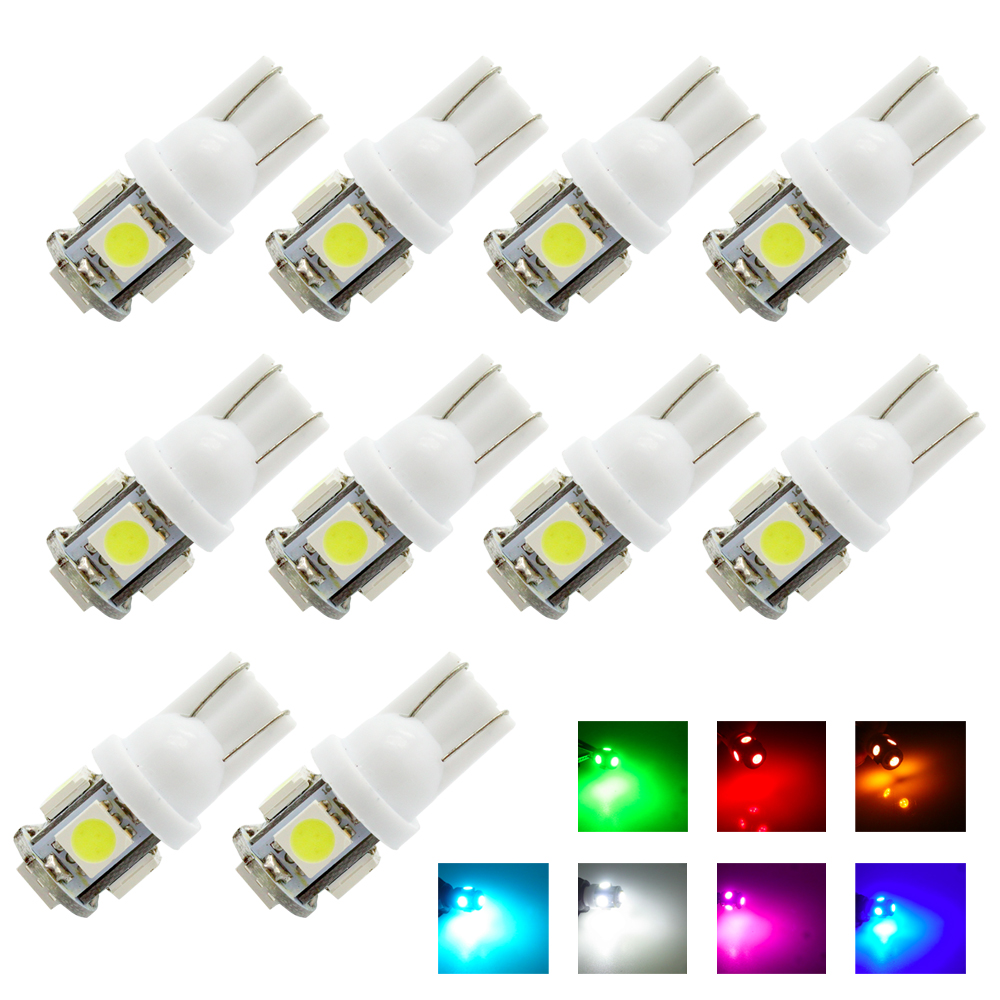 10x T10 White Red Blue Lights Car Dashboard Trunk Signal Replacement Reverse Wedge 5-SMD 5050 DC 12V W5W 194 168 2825 Lamp Bulb