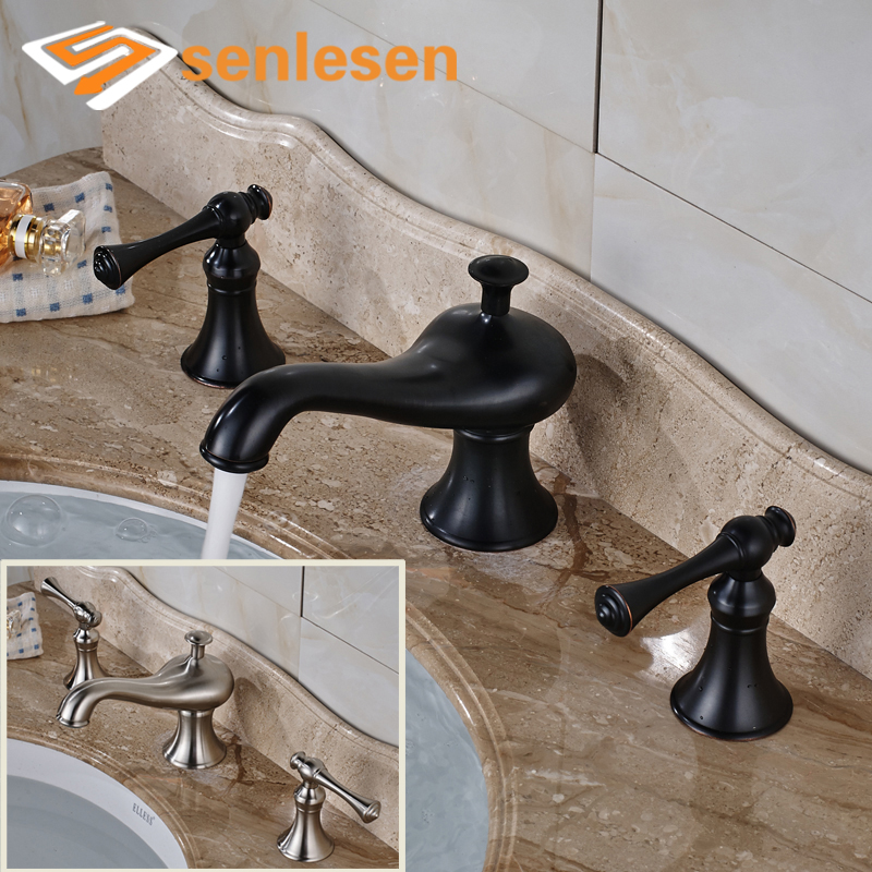 купить Oil Rubbed Bronze / Brushed Nickel Bathroom Basin Faucet Deck Mounted with Two Handles по цене 5026.38 рублей