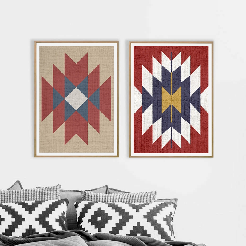 Aztec Rug Boho Wall Art Prints And Poster , Western Art Aztec Tribal Canvas Painting Wall Pictures Living Room Home Decor