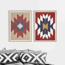 Aztec Rug Boho Wall Art Prints And Poster , Western Art Aztec Tribal Canvas Painting Wall Pictures Living Room Home Decor(China)