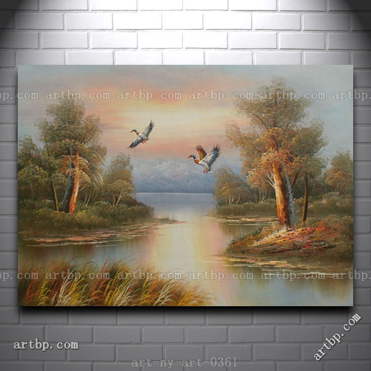 Oil Painting Of Landscape Duck Flying Over River In Fall Cheap Paintings Canvas Abstract