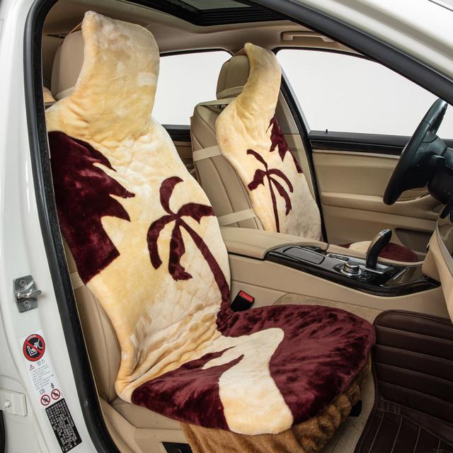 Modelo del árbol amarillo faux fur car asientos delanteros 2 o total 5 cubierta de asiento de otoño invierno de la felpa cojín del coche universal para mantener el calor