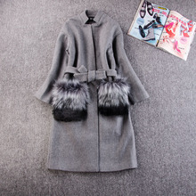 Women Winter Coats And Jackets 2016 Autum New Grey Wool Coat Real Fur Pocekt Long Parka Warm Outwear casaco feminino