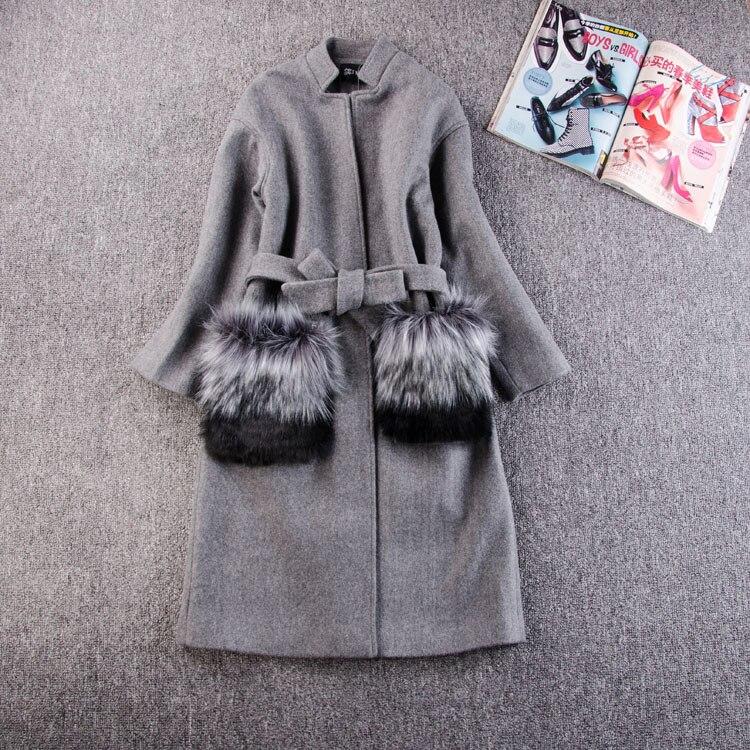Three Crystal Yz Women Winter Coats Jackets 2017 Autum Winter Grey Wool Coat Fur Pocekt Long Parka Warm Outwear casaco feminino