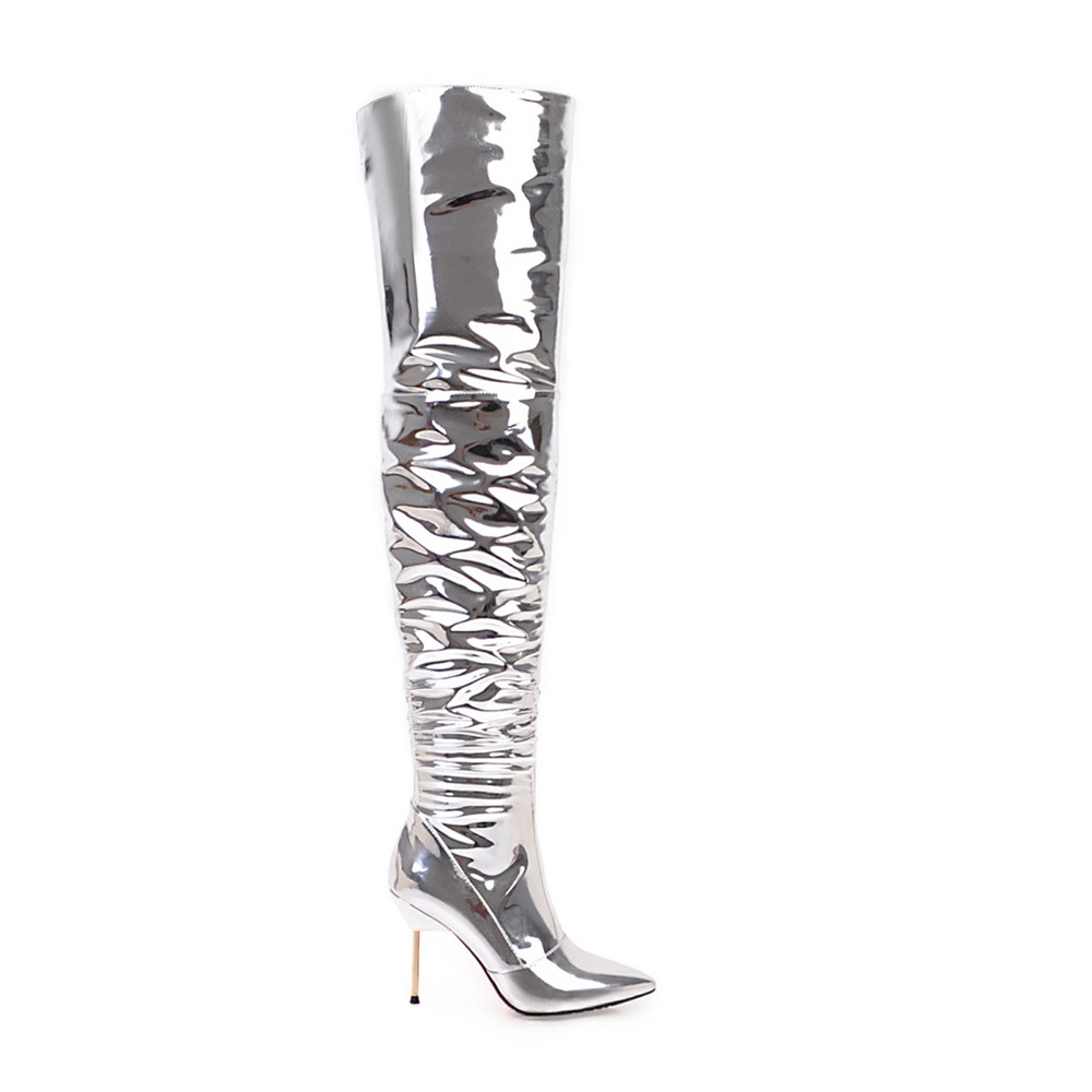 Asumer Genou Sexy Bout Bal Argent 2018 Talon Dames Femmes Bottes Mince Plus Mode De Haute Pointu Zipper Le Super 0vp0wqUIxr