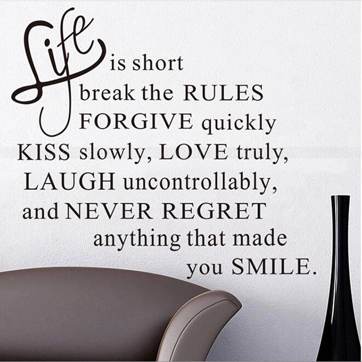 Vinyl lettering decals for crafts - Life Is Short Quote Removable Wall Sticker Art Vinyl Decal Murals Home Shop Wall Paper Home