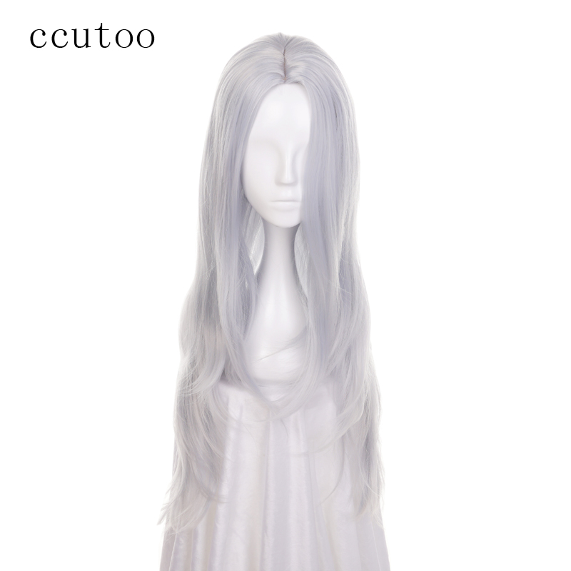 ccutoo 75cm Silver Blue Mix Curly Long Middle Parting Hairstyles Synthetic Wig Heat Resistance Hair Cosplay Costume Wigs