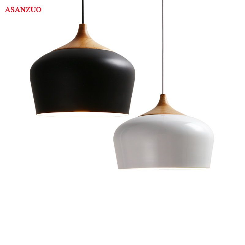 Modern Wood pendant light black/white Retro Droplight Bar Cafe Bedroom Restaurant American Country Style Hanging Lamp Dia 30cm nothern europe black white color pendant lamp wood japanese style restaurant light bedroom light free shipping