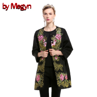 2017 Women Spring Autumn Coats Elegant Lady Long Coat Plus Size XXL Overcoat Embroidered Covered Button