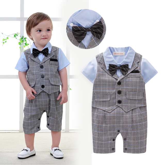 73e1873c4a4f 1 year old Baby Boy clothes Handsome Summer Newborn baby boys Gentleman  party Plaid bow tie Single Breasted Clothing