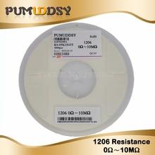 5000pcs 1% 1206 smd chip resistor resistors 0R-10M 1/4W 10R 22R 47R 100R 150R  220R 470R 200pcs 1206 2k4 2 4k ohm 1% smd resistor
