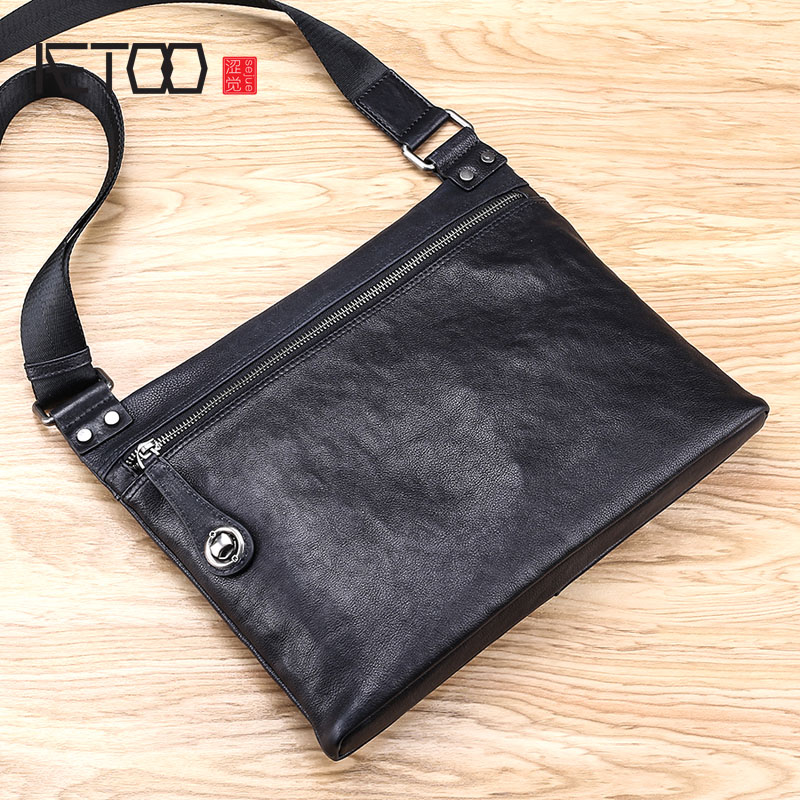 AETOO Leather mens bag new mens bag shoulder Messenger bag cross section casual leather small bagAETOO Leather mens bag new mens bag shoulder Messenger bag cross section casual leather small bag