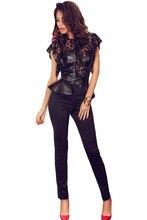 2016 New Summer Women's Sexy Hollow Out Black Flutter Lace Sleeves Peplum Waist Jumpsuit LGY64070