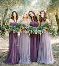 2015 Sexy Backless Bridesmaid Dresses One Shoulder Pleat  A Line Chiffon Floor-Length Custom Made robe demoiselle d'honneur
