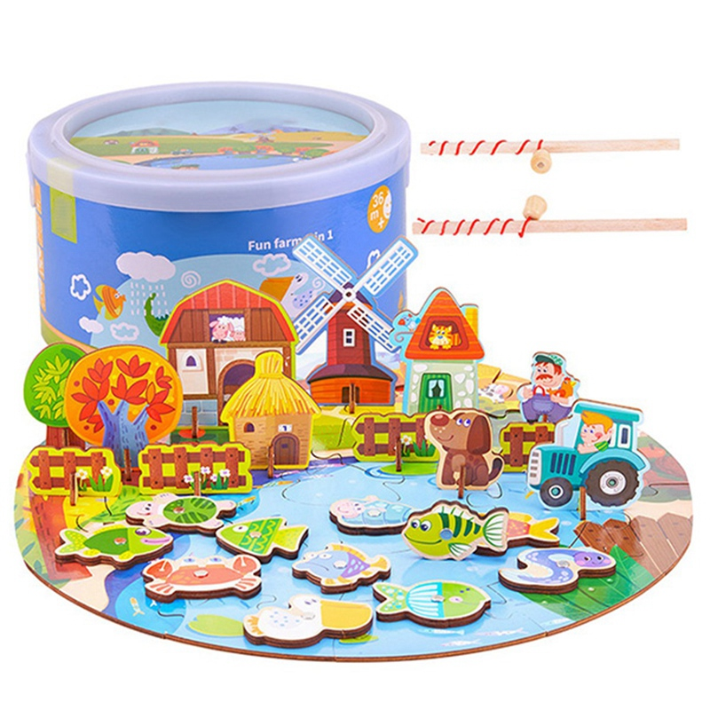 Early Childhood Education Puzzle Magnetic Fishing Puzzle 3 In 1 3D Wooden Toy Set For Young Kids Educational Toys