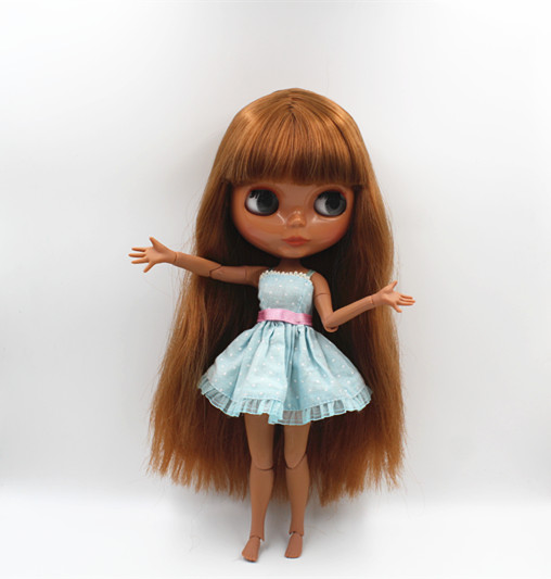 Blyth doll Deep khaki, bangs, straight hair, nude dolls, multi-joint body, 19 joint body ...