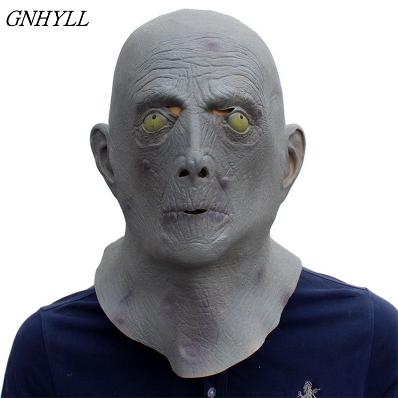 GNHYLL new Halloween <font><b>Terror</b></font> Mask Old Man Elderly Bald Latex Mask full face scary head cover party costume Alien Headgear Mask image