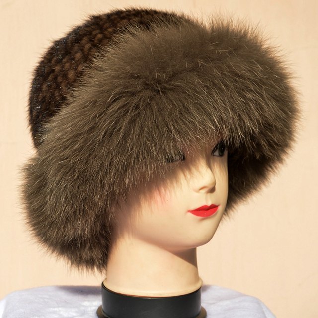Autumn and winter women's real mink fur hat fox Russian sun hat Fashion warm natural fur mink and fox fur knitted Beanies