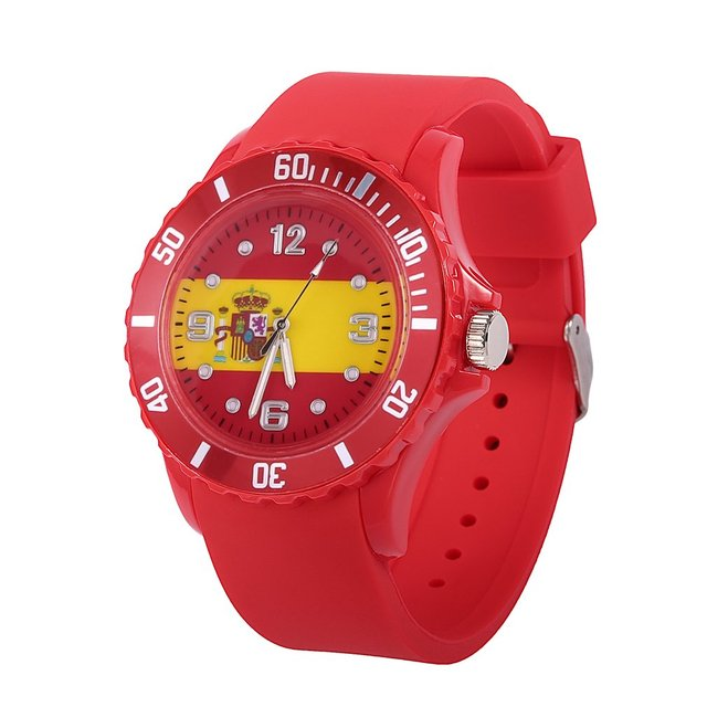 Spanish Flag Pattern 2018 Football watch Quartz Watch Red Silicone Soft Comforta