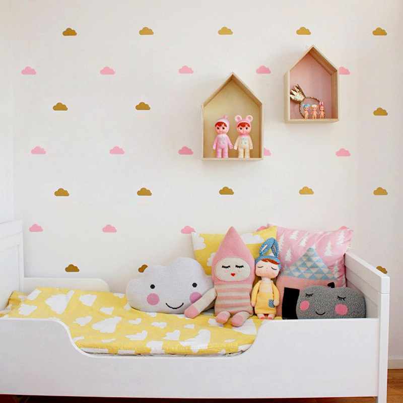 Little Cloud Wall klistremerker Veggoverføringsbilde DIY Hjemmeinnredning Wall Stickers i barnehagen Baby Room Wallpaper Kids Decor Wall Decal