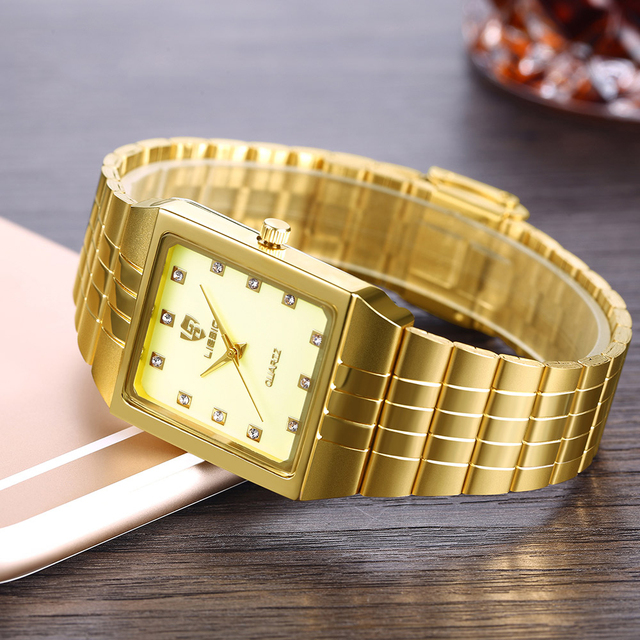 Golden Quartz Watch Men Women Luxury Watches relogio masculino Top Luxury Gold Bracelet Wrist Watches Steel Female Male Clock
