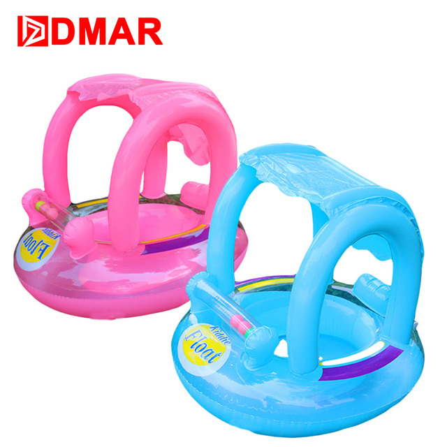 DMAR Inflatable Pool Float With Canopy For Kids Swimming Ring Baby Circle