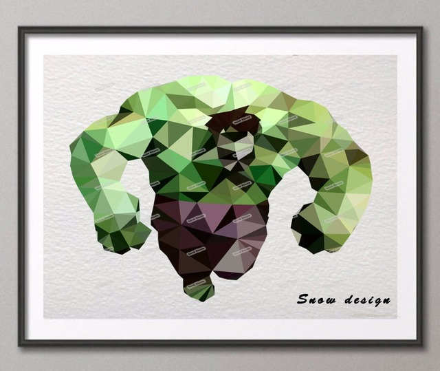 Low Poly Modern Geometric Hulk Canvas Painting SuperHero Wall Art Poster  Print Pictures Home Decor Wall