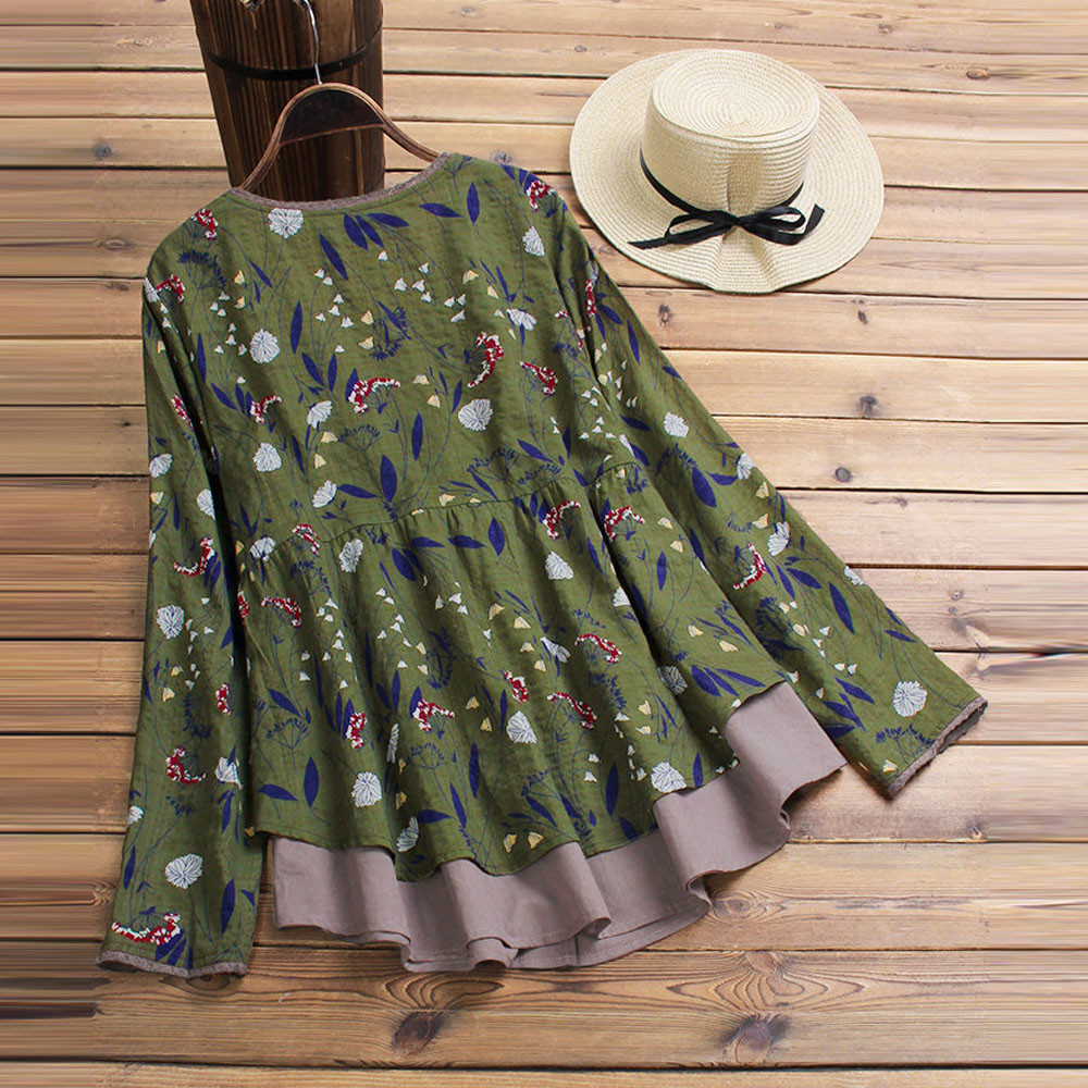 c2211169aad Plus Size 5XL Womens Tops And Blouses 2018 Women Vintage Floral Print Long  Sleeve Blouse Clothes Boho Ladies Tops Clothing -in Blouses   Shirts from  Women s ...