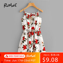 ROMWE Cute Floral Summer Dress Women Random Self Tie Casual Slip Midi Dress 2019 New Faux Pearls Elegant Knot Front A Line Dress