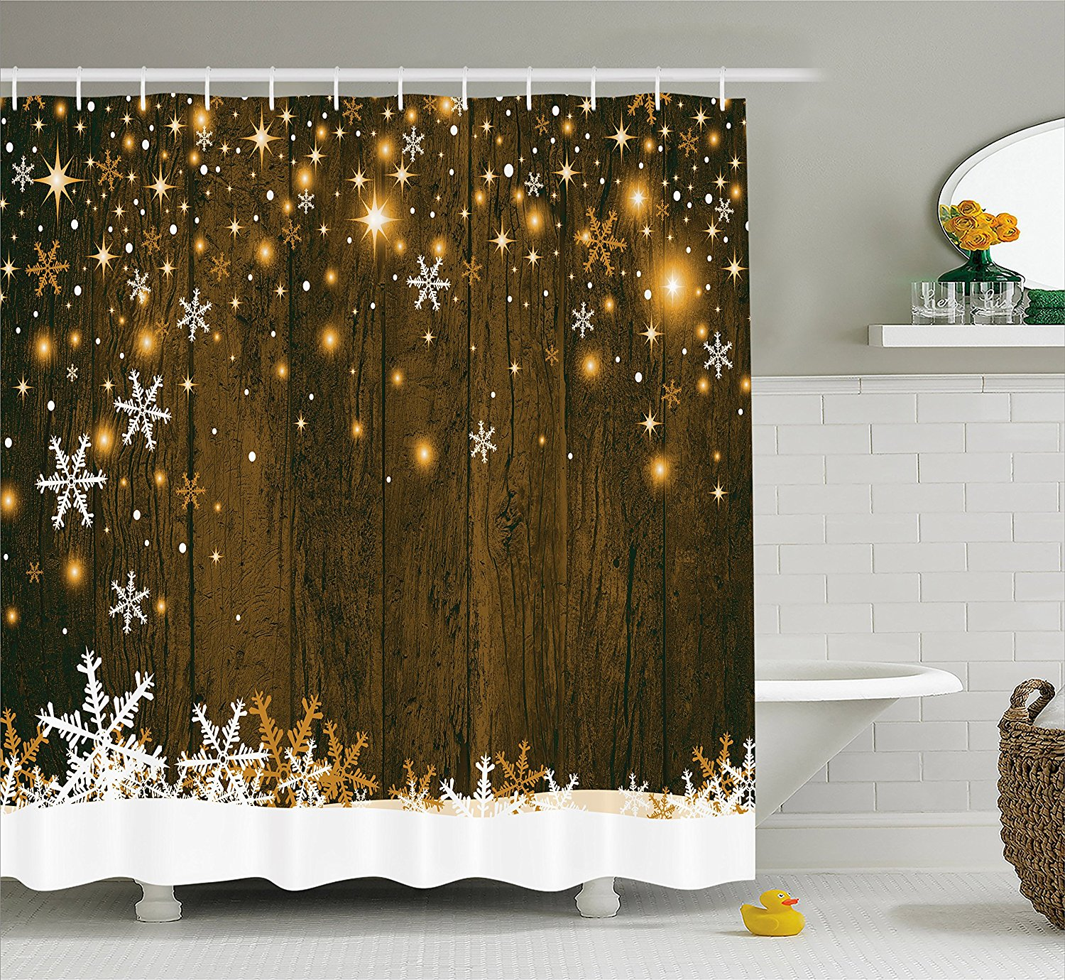 Us 12 8 30 Off Christmas Shower Curtain Snowflake Rustic Christmas Decorations Brown Wooden Fabric Bathroom Set Backdrop With Snowflakes In Shower