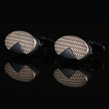 Nowe męskie spinki do mankietów retro czarny spinki do mankietów przyciski męskie francuskie spinki do mankietów prawnik miedziane mankiety elipsy prezent akcesoria biżuteryjne tanie i dobre opinie Qi Qi Wu Tie klipów i spinki do mankietów Mężczyźni Moda TRENDY Symulowane perłowej CL-190552 Metal Okrągły Cuff Links