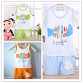 2016 новый девочка мальчик одежда устанавливает мальчиков одежда случайные рыба печать детская одежда устанавливает мальчик костюм комплект футболка + брюки летом