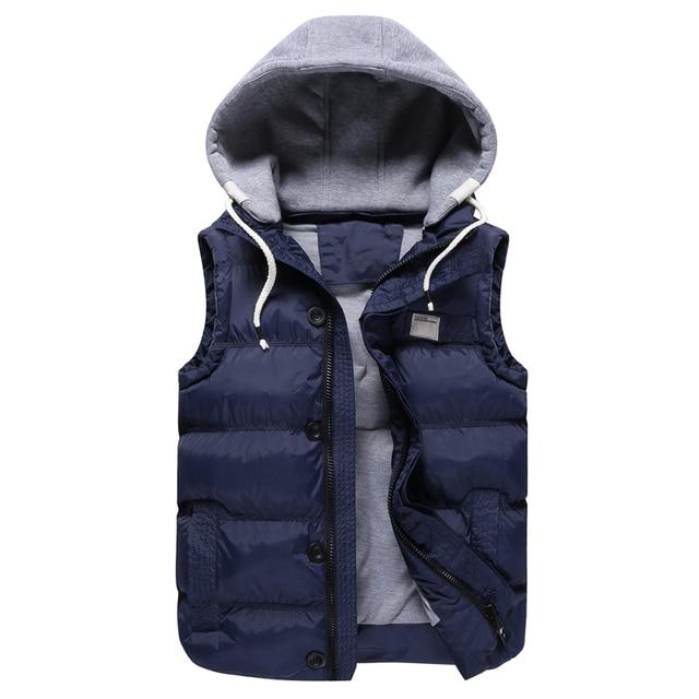 Зима хлопок жилет мужской 2016 новых мужчин Тонкий вскользь с капюшоном жилет Модный мужской большой размер пальто 4XL 5XL зимняя куртка мужчины