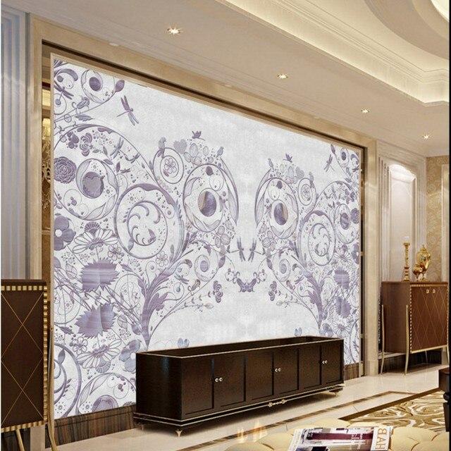 Benutzerdefinierte 3d Wandbild Tapete Lila Marmor Hintergrund Wohnzimmer Schlafzimmer  Tapeten 3D Stereo Zollamt Dekoration Wandbild
