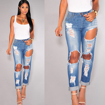 9cba4c88a0ca5e 2016 Sexy Women Destroyed Ripped Slim Denim Pants Fashion Hollow Girls  Jeans Trousers 6 8 12 14-in Jeans from Women's Clothing on Aliexpress.com |  Alibaba ...