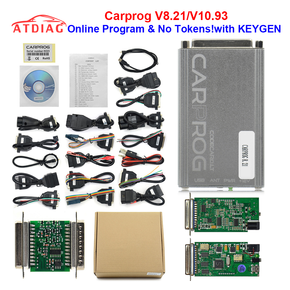 Newest V8.21 V10.93 Carprog Full Adapter Car Prog 8.21 With Keygen  Online Programmer For Radio/Dash/IMMO/ECU Auto Repair Tool