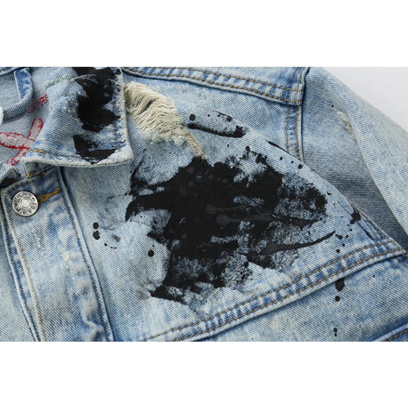 DARK ICON Graffiti Appliques Hip Hop Jeans Jacket Men 2019 Autumn Washing Material Denim Jackets for Men Casual Jackets