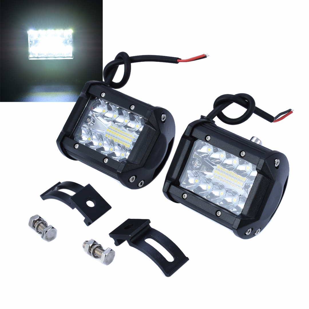 2pcs 4inch 200W 20LED Work Light Bar Work Light Lamp Spot Flood Motorcycle Tractor Boat Offroad Driving Lamp Motorcycle Tractor