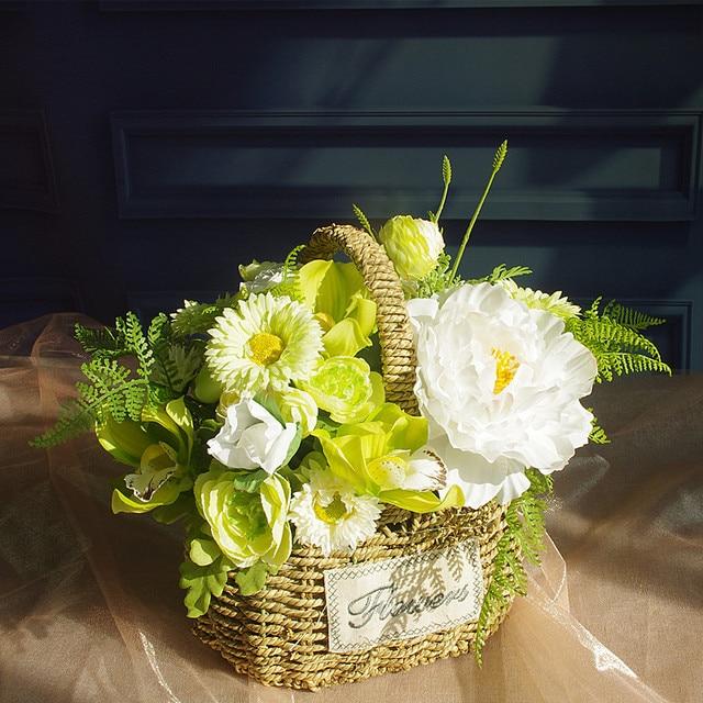 exclusive sales green flower basket flower arrangement gift bouquet