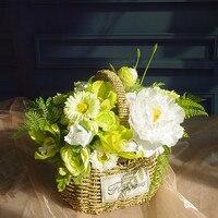 Exclusive Sales Green Flower Basket Flower Arrangement Gift Bouquet Artificial Flower Bonsai Party Event Free Shipping