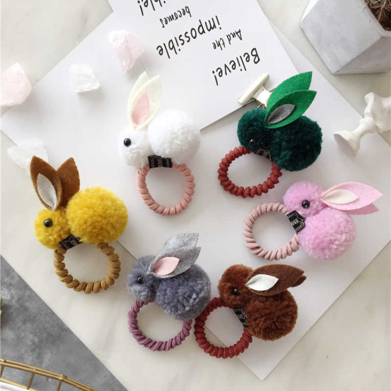 Cute Animals Style Hair Bands Felt Three-Dimensional Plush Rabbit Ears Ponytail Holder Hair Styling Accessories Hair Braider