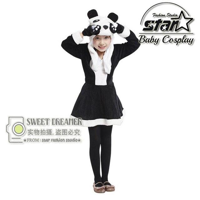 M-XL Disfraces Фантазия Дети Девушки Животных Panda Косплей Костюм Хэллоуин Карнавал Белый Черный Лоскутная Платье Производительности