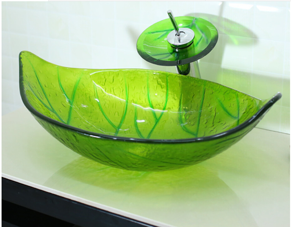 Green Leaf Shaped Glass Handcraft Bathroom Vanity Wash Basin Tempered glass counter top Vessel Sink JN4275