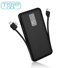 Travelcool 10000 мАч запасные аккумуляторы для телефонов с кабелем внешний батарея для iphone samsung usb Тип C вход с зарядный кабель запасные аккумуляторы для телефонов внешний аккумулятор