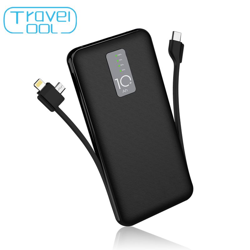 Travelcool 10000mAh Power Bank 3A with Cable External Battery for iphone Samsung USB Type C Input with Charging Cable Powerbank