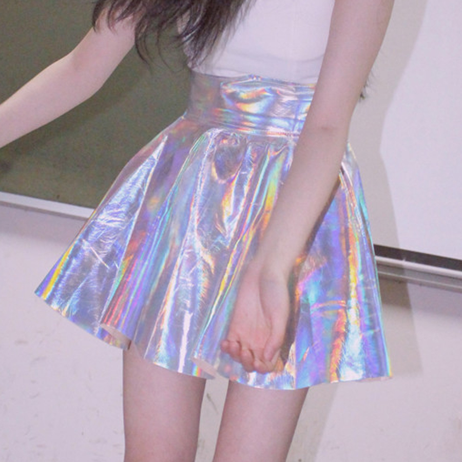 Alert Women Silver Holographic Vinyl Skirt Fetisval Clothing Punk Laser Hologram Foil Fabric Skater Skirt